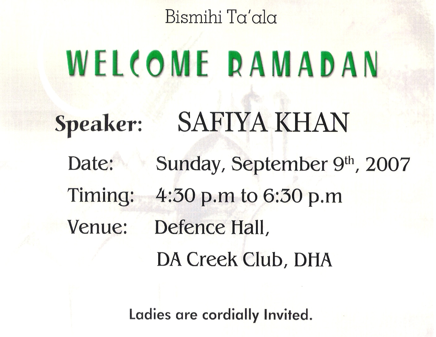 Ramadan glimpses welcome ramadan lecture by safiya khan stopboris Image collections